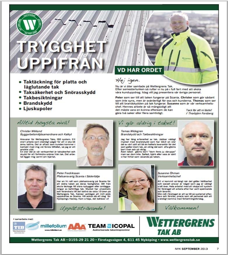 Wettergrens Taks nyheter 09 2013